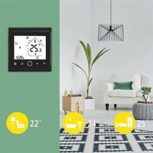 b&w wifi termostat crne boje na zidu