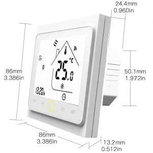 dimenzije b&w bijelog wifi termostata